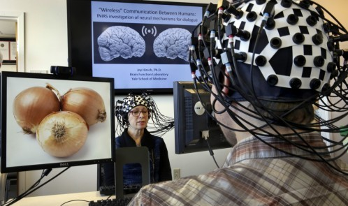 Shaw Bronner, left, and Shaul Yahil, two researchers at the Yale Brain Function Lab, describe images on their computer screens to each other while their brain activity is mapped during a demonstration of the technology in New Haven, Conn. on Friday, March 13, 2015. At one end of each of the 64 fiber optic cables in each headpiece, weak laser beams saw about an inch into their brains to detect blood flow. (AP Photo/Richard Drew)