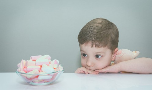 Boy hugging toy, looking at bowl of marshmallows getty creative easy access